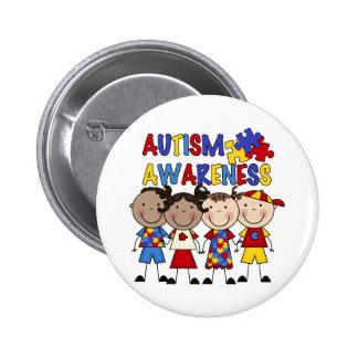 Stick Figure Kids Autism Awareness Pinback Button