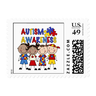 Stick Figure Kids Autism Awareness Postage Stamp