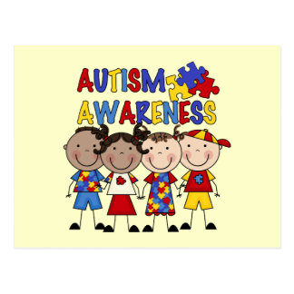Stick Figure Kids Autism Awareness Postcard
