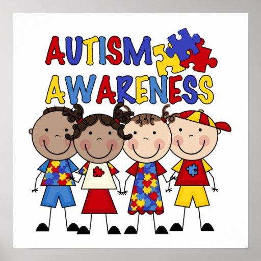 Autism Awareness Art Posters Framed Artwork: Stick Figure Kids Autism Awareness Poster