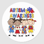 Stick Figure Kids Autism Awareness Round Sticker