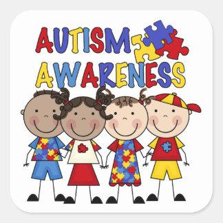 Stick Figure Kids Autism Awareness Square Sticker