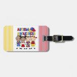 Stick Figure Kids Autism Awareness Travel Bag Tag