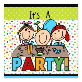 Stick Figure Kids Birthday Party Invitations 5.25
