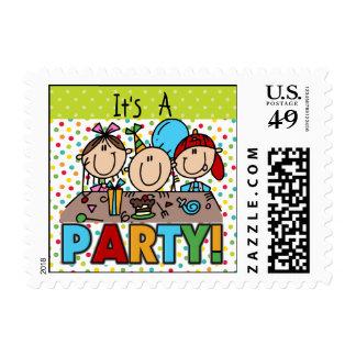 Stick Figure Kids Birthday Postage Stamps