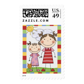 Stick Figure Kids Cards and Gifts Postage Stamps