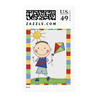 Stick Figure Kids Cards and Gifts Postage Stamp
