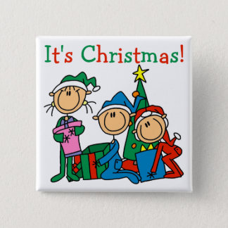 Stick Figure Kids It's Christmas Tshirts and Gifts Button