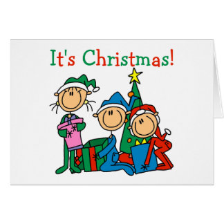 Stick Figure Kids It's Christmas Tshirts and Gifts Card