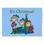 Stick Figure Kids It's Christmas Tshirts and Gifts Greeting Cards
