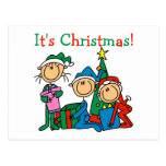 Stick Figure Kids It's Christmas Tshirts and Gifts Postcard