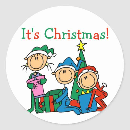 Stick Figure Kids It's Christmas Tshirts and Gifts Round Stickers