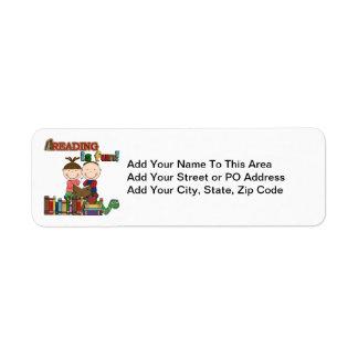 Stick Figure Kids Reading is Fun Custom Return Address Labels