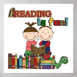 Stick Figure Kids Reading is Fun Poster