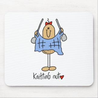Stick Figure Knitting Nut Mousepad