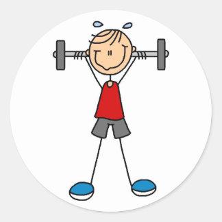 Stick Figure Lifting Weights Sticker