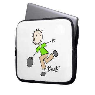 Stick Figure Male Bowler T-shirts and GIfts Laptop Sleeve