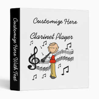 Stick Figure Male Clarinet Player Tshirts and Gift 3 Ring Binder