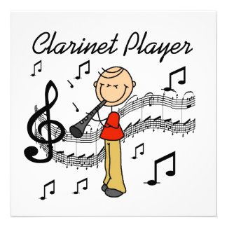 Stick Figure Male Clarinet Player Tshirts and Gift Announcements