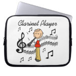 Stick Figure Male Clarinet Player Tshirts and Gift Laptop Sleeves
