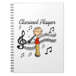 Stick Figure Male Clarinet Player Tshirts and Gift Note Book