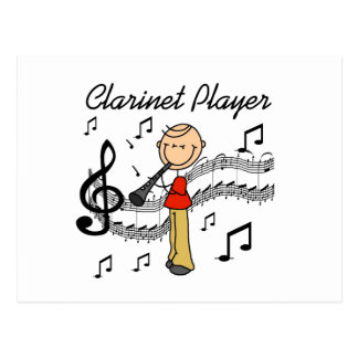 Stick Figure Male Clarinet Player Tshirts and Gift Postcard