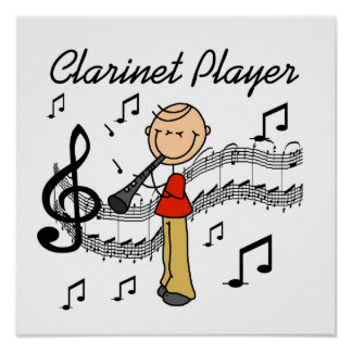 Stick Figure Male Clarinet Player Tshirts and Gift Poster
