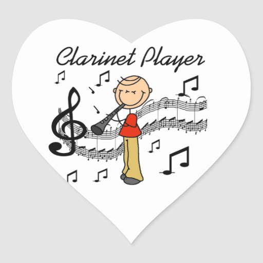 Stick Figure Male Clarinet Player Tshirts and Gift Heart Sticker