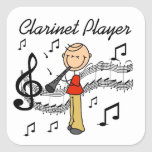 Stick Figure Male Clarinet Player Tshirts and Gift Square Sticker