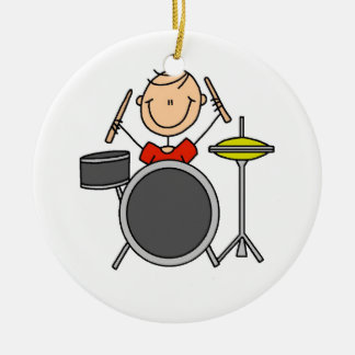 Stick Figure Male Drummer T-shirts and Gifts Double-Sided Ceramic Round Christmas Ornament