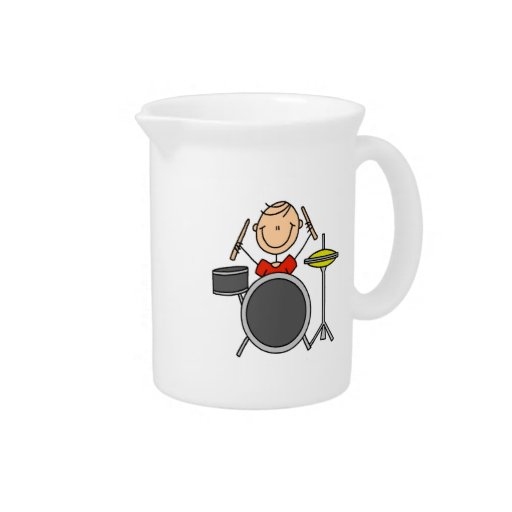 Stick Figure Male Drummer T-shirts and Gifts Drink Pitcher