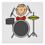 Stick Figure Male Drummer T-shirts and Gifts Posters