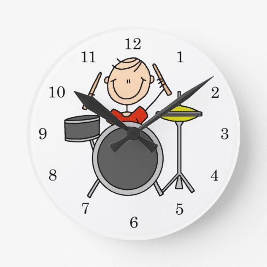 Stick Figure Male Drummer T-shirts and Gifts Round Clock