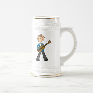 Stick Figure Male Guitar Player T-shirts and Gifts 18 Oz Beer Stein
