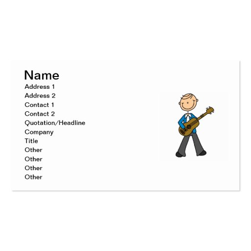 Stick Figure Male Guitar Player T-shirts and Gifts Business Card
