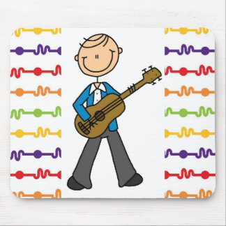 Stick Figure Male Guitar Player T-shirts and Gifts Mouse Pad