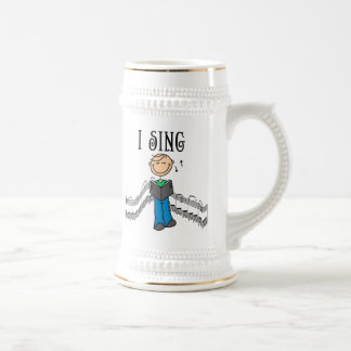 Stick Figure Male I Sing T-shirts and Gifts 18 Oz Beer Stein