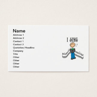 Stick Figure Male I Sing T-shirts and Gifts Business Card