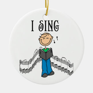 Stick Figure Male I Sing T-shirts and Gifts Ornament
