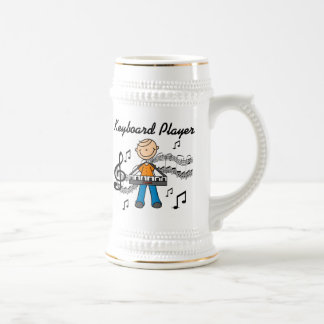 Stick Figure Male Keyboard Player Gifts 18 Oz Beer Stein