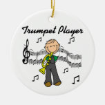 Stick Figure Male Trumpet Player T-shirts and GIft Double-Sided Ceramic Round Christmas Ornament