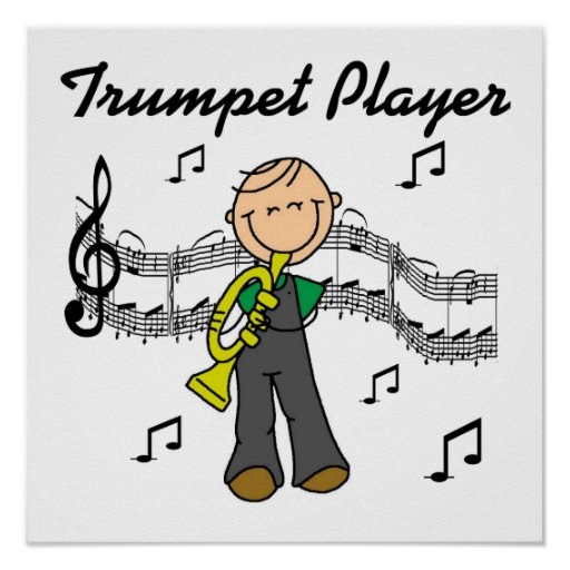 Stick Figure Male Trumpet Player T-shirts and GIft Print