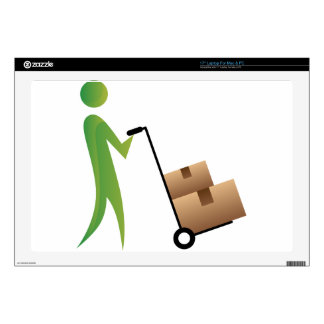 "Stick Figure Man Moving Boxes Handtruck 17"" Laptop Skin"