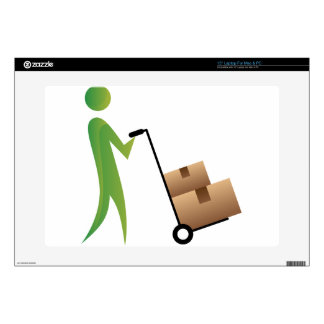 Stick Figure Man Moving Boxes Handtruck Decal For Laptop