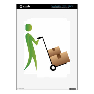 Stick Figure Man Moving Boxes Handtruck iPad 3 Decal