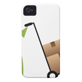 Stick Figure Man Moving Boxes Handtruck iPhone 4 Cover