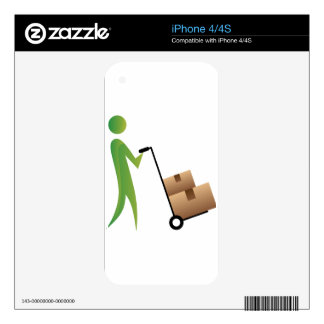 Stick Figure Man Moving Boxes Handtruck iPhone 4S Decal