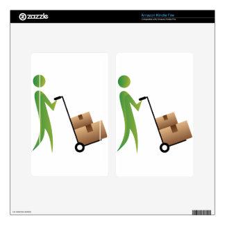 Stick Figure Man Moving Boxes Handtruck Kindle Fire Skin
