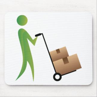 Stick Figure Man Moving Boxes Handtruck Mouse Pad