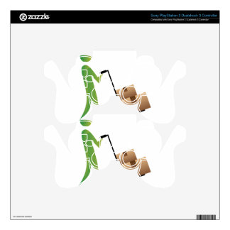 Stick Figure Man Moving Boxes Handtruck Skin For PS3 Controller